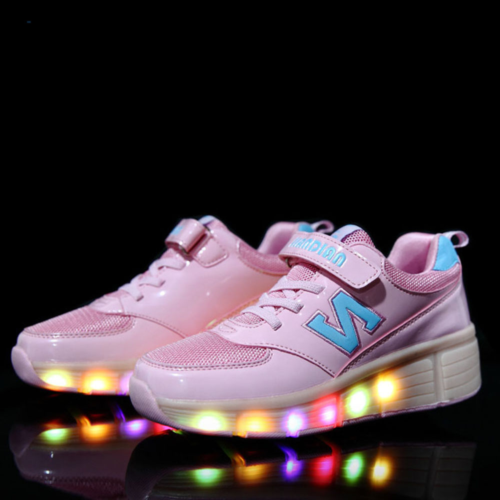 Roller shoes cheap - Children Shoes Glowing With Led Light Up Children Shoes With Wheels Kids Girls Roller Shoes Sneakers