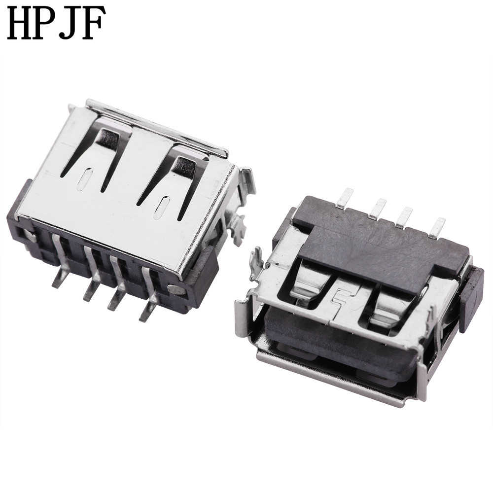 10pcs USB 2.0 4Pin A Type Length 10.0mm SMT Patch Female Socket Connector Pin Short Body For Data Transmission Charging