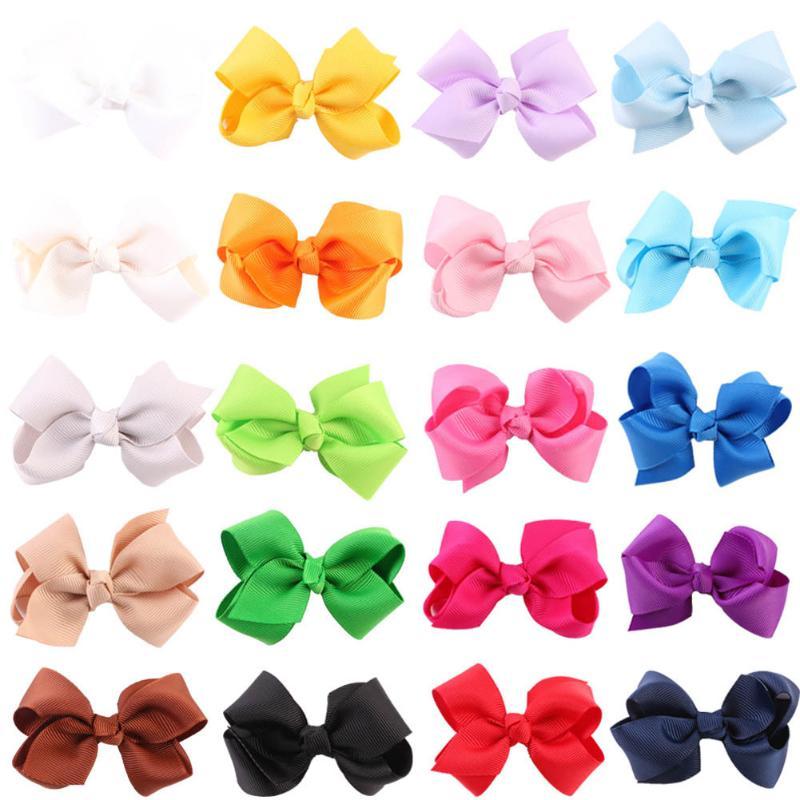 20pcs Baby Kids Girls Grosgrain Ribbon Bow Hair Clip Hairpin Alligator Clips FO