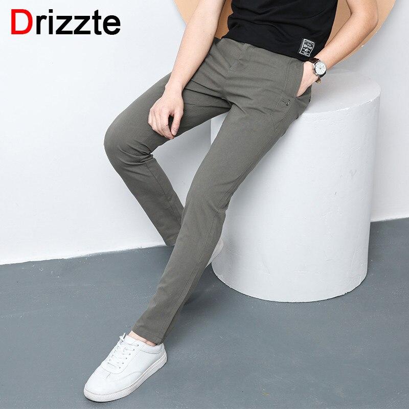 Drizzte Mens Pants Style Slim Fit Stretch Cotton Chinos Pants Summer Trouser Slim Fit Slacks Size 28-40