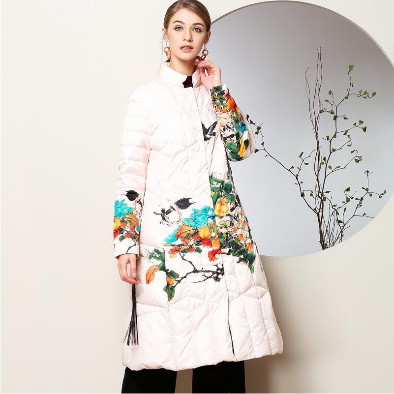 Coton fait hiver style chinois femme genou longueur Trench manteau style folklorique coton rembourré veste chaude timbre traditionnel marée porter