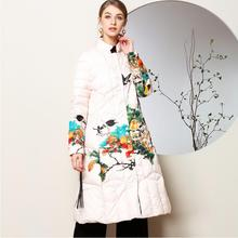 Cotton Made winter Chinese style female knee Length Trench Coat folk style cotton padded Warm jacket Traditional stamp tide Wear цена 2017