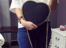 2016 Special Offer Pocket Zipper Chains Hot Love Form Inclined Bag, The Peach Pericardium Heart Chain Mini Single Shoulder Bag