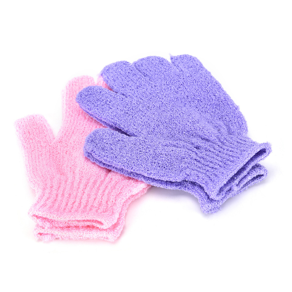 1 Pair New Shower Bath Gloves Exfoliating Wash Skin Spa Massage Body Scrubber Cleaner Bathing Cleaning Products Random Color Hot