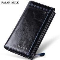FALAN MULE vintage männer brieftaschen aus echtem leder lange business casual kupplung geldbörse kartenhalter brieftasche