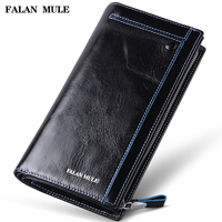 FALAN MULE vintage men wallets genuine leather long business casual clutch purse card holder wallet
