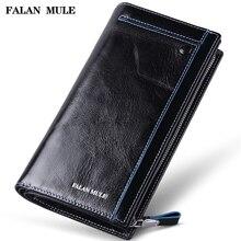 FALAN MULE vintage men wallets genuine leather long business casual clutch