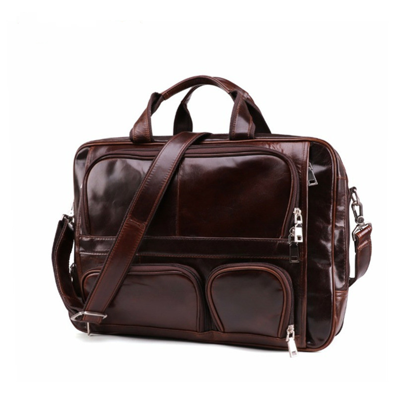 Travel Laptop Bag For Men Briefcase Large Capacity Business Bags 100% Leather Computer Office Work Files Bag For Macbook Pro 17