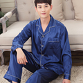 Plus Size Men 's leisure Pajamas Thin Ice Silk Pajamas Suits Set Lapel Solid Long Sleeve Loose Home Colthes Sleepwear