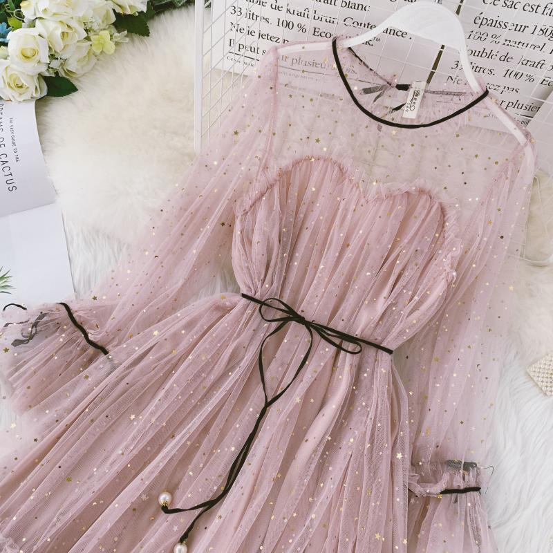 HISUMA spring autumn new women Star sequins gauze flare sleeve lace-up Princess dress female elegant o-neck mesh puff dresses 21