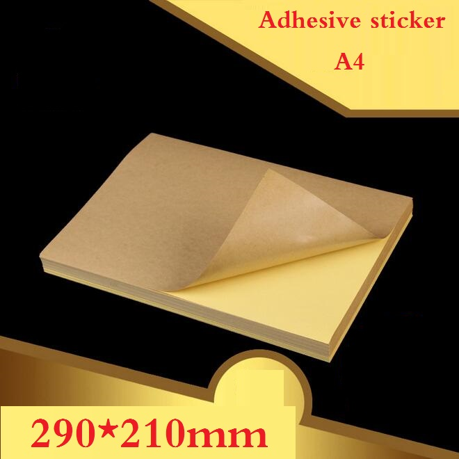 100 Sheets/lot A4 size Blank Kraft adhesive sticker/Self adhesive A4Kraft Label Paper for Laser Inkjet Printer Packaging Label kicute 70sheets pack self adhesive blank label paper price sticker stationery mark sticker for office stores libraries supplies