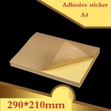100 arkuszy/partia A4 rozmiar pusty Kraft samoprzylepna naklejka/samoprzylepny papier do etykiet A4Kraft do laserowej drukarki atramentowej etykieta opakowania