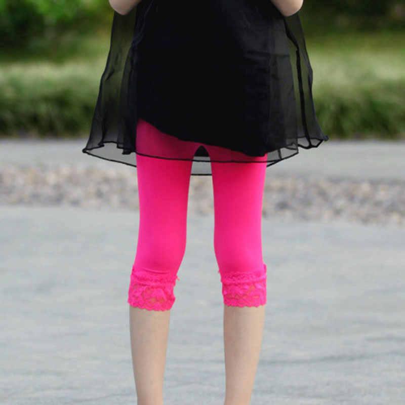 Dziewczyny spodnie na lato dzieci dzieci dziewczyna elastyczna czysta kolor krótkie spodnie koronki w wieku 3-10 lat dziewczyny lato legginsy