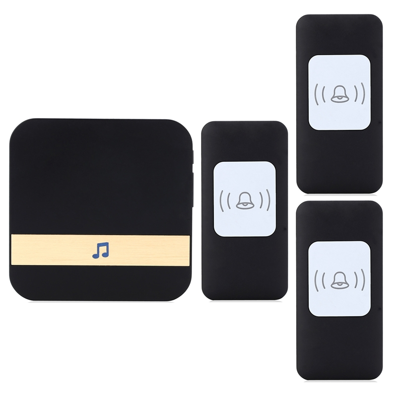 CACAZI Newest Smart home DoorBell 3 Waterproof buttons+1 receiver 300m remote Wireless Door bell AC 75-250V 52 rings door chime 3 buttons replacement smart remote key