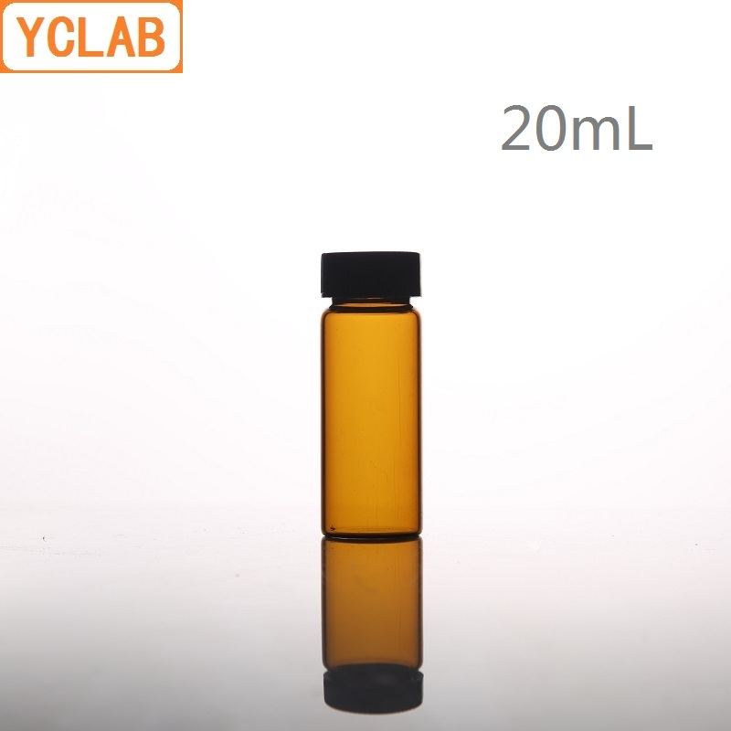 YCLAB 20mL Glass Sample Bottle Brown Amber Screw With Plastic Cap And PE Pad Laboratory Chemistry Equipment