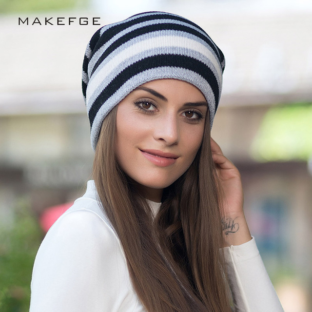 Women s Knit Winter New Striped Cotton Caps Warm and Comfortable Fashion  Trend Ski Hats Unisex slouchy beanie for female lady b122e4f11