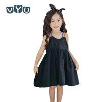 VYU New Black Cotton Child Dress Children Clothing Girls Rainbow Strap Simply Lovely Casual Kids Summer