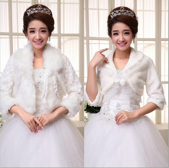 Beige Ivory Long Faux Fur Wrap Shrug Bolero Coat Bridal Shawl Jacket