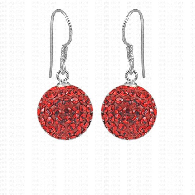 Free shipping red 12mm 925 sterling silver jewelry hook beads pendant crystal earrings 925 silver cz ball earrings