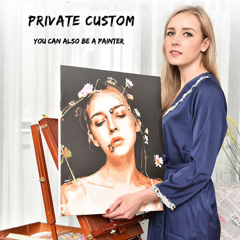 Leidea Photo Custom Make Your Own Diy Digital Oil Painting By Numbers Picture Drawing On Canvas Portrait Wedding Family Photos