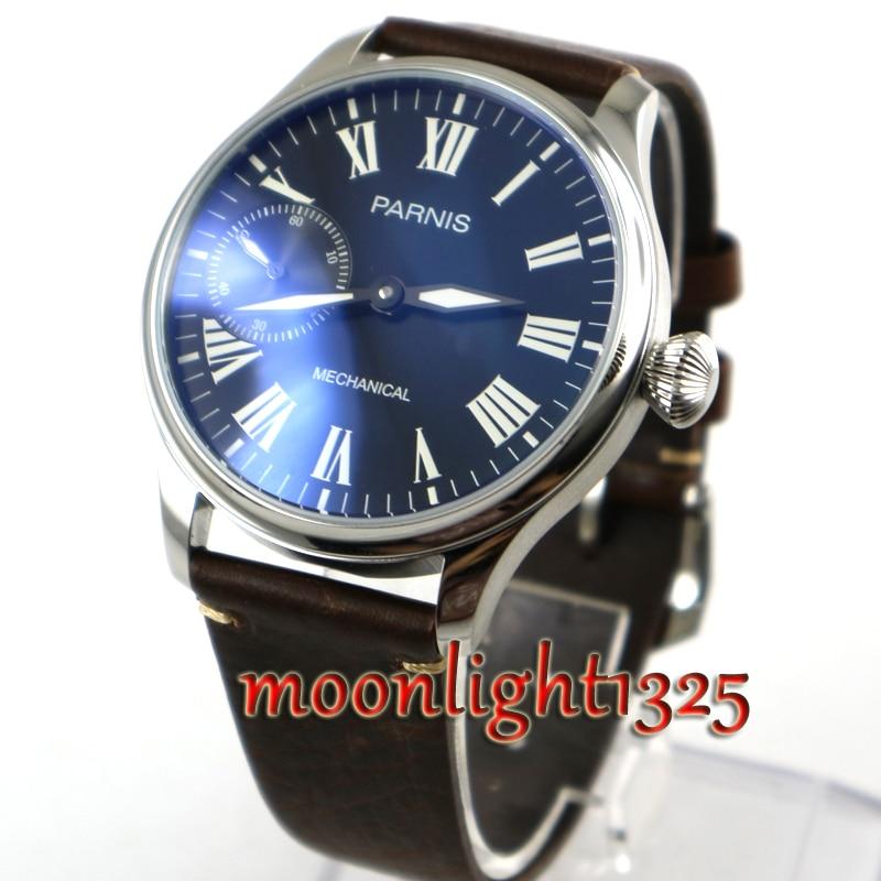 все цены на Parnis green Luminous 44mm Black Dial ETA 6497 Hand Winding Mechanical Men Watch онлайн