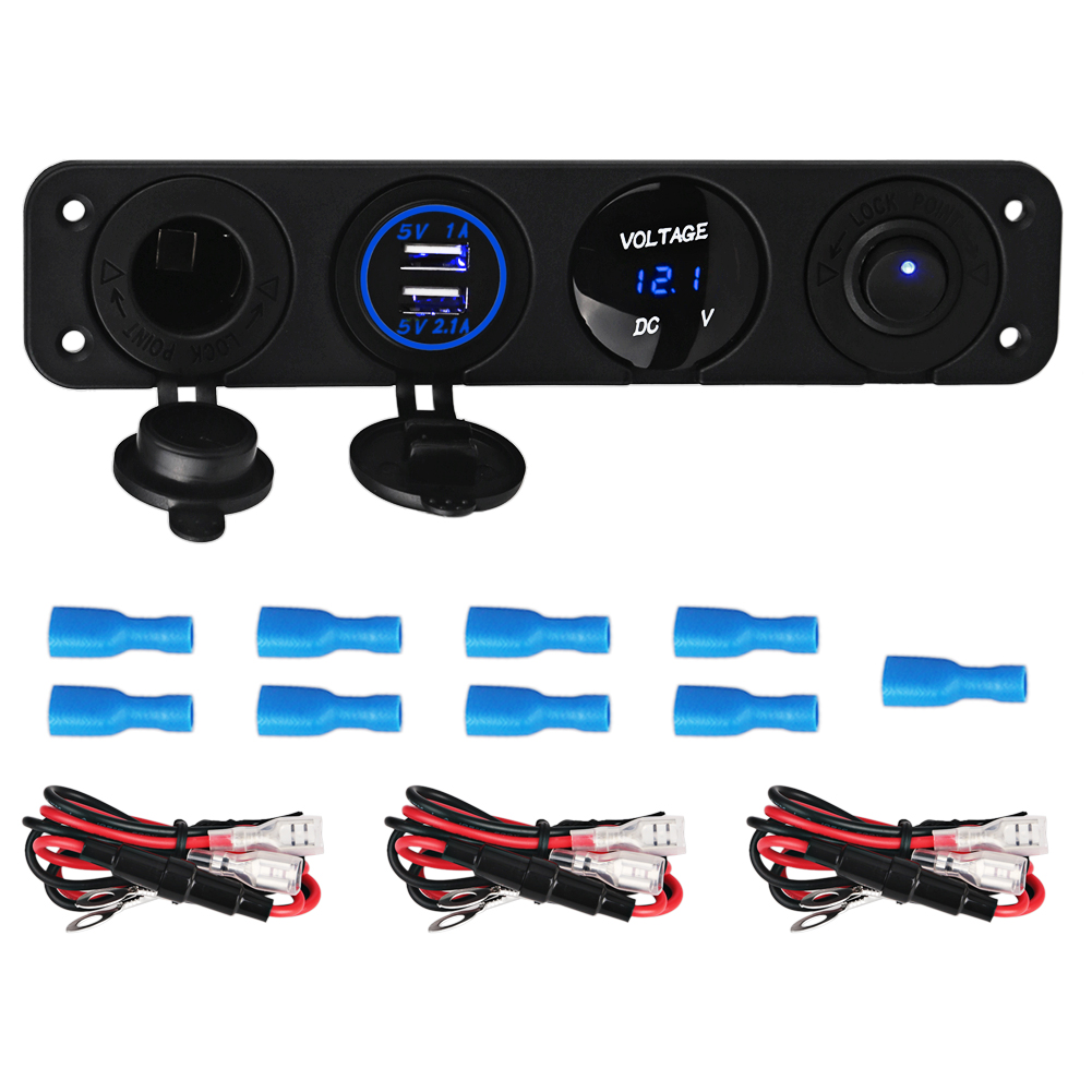 4 Hole Panel Switch Base Dual USB Car Charger Voltmeter Meter Cigarette Lighter Socket Switch Car Truck Boat Accessory 12-24V
