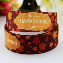 Free shipping 7/8″ 22mm Thanksgiving fallen leaves  Printed grosgrain ribbon,hair bow DIY clothing materials packaging  20yards