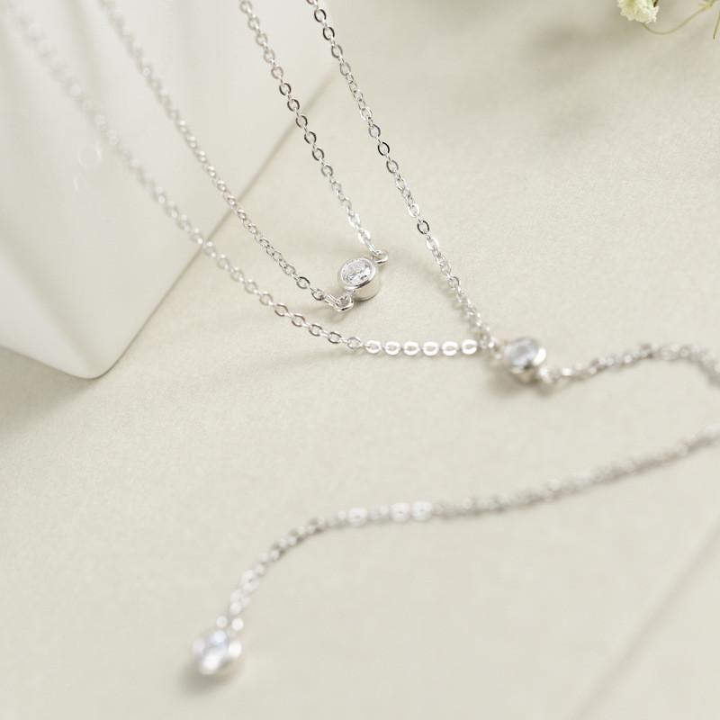 LUKENI New Design Personality White Color Cubic Zircon Double Zircon Long Sweater Chain NecklaceS For Women Fashion Jewelry Acc