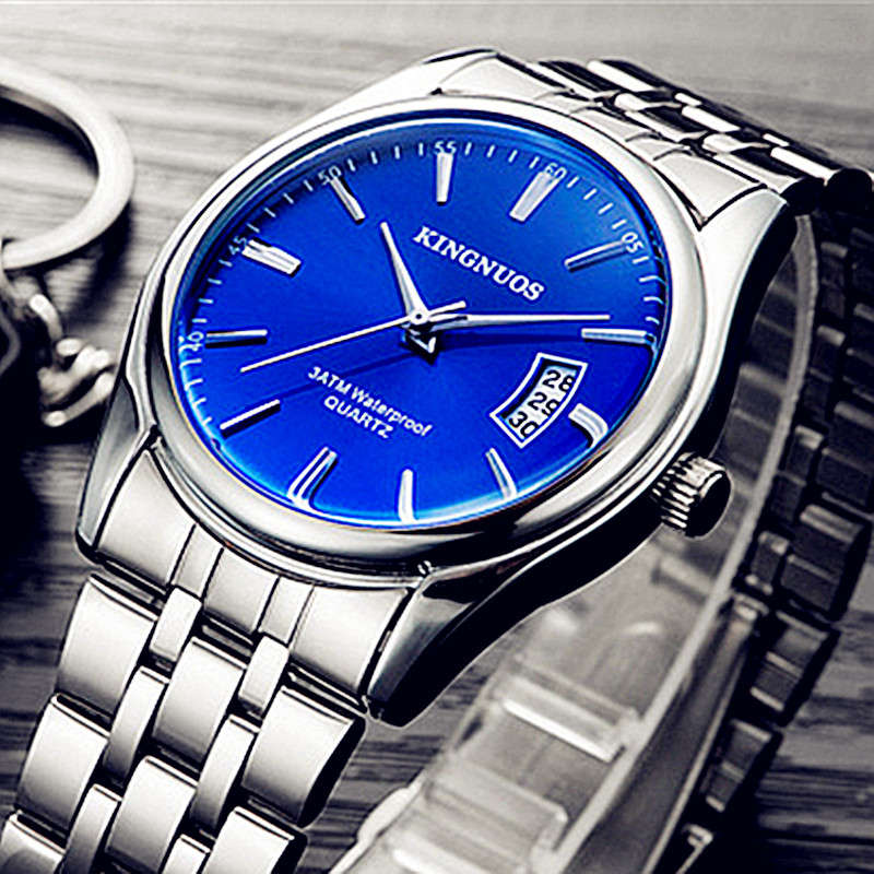 2018 Men's Wrist Watch Stainless Steel Watch KINGNUOS Brand Calendar Waterproof Quartz Clock Male Man Business Blue Classic Hour все цены