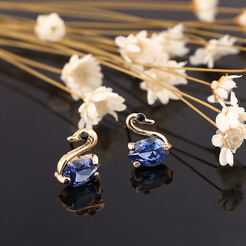 coming navy new earrings item for color blue stud from delicate in minhin crystal mini girl jewelry gold swan design earring plated austrian