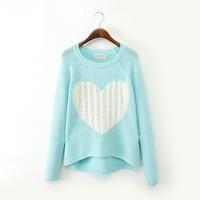 369dd8e47 New Nice Fashion Women Elegant Heart Pattern Pullover O Neck Long Sleeve  Knitwear Stylish Casual Slim