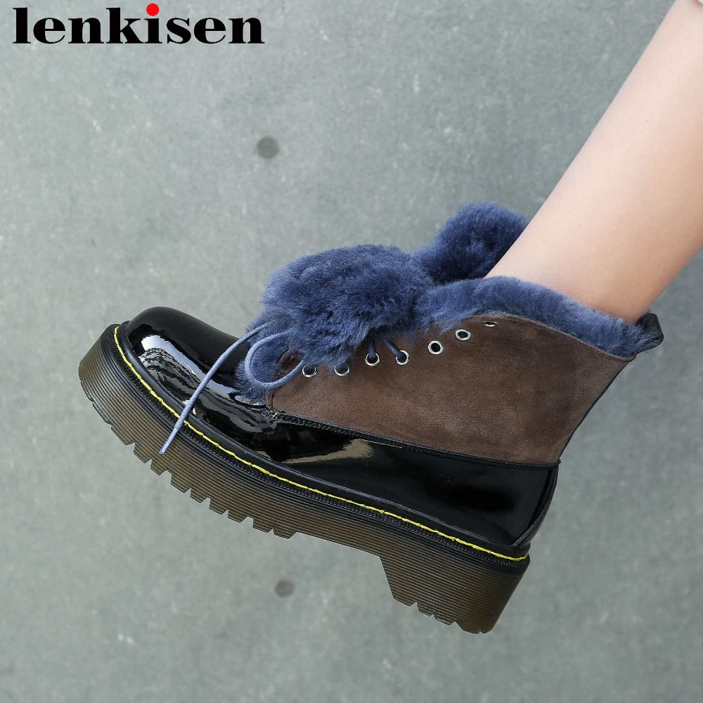 Luxury limited design new shearling med heels platform slip on mixed color round toe british shool fashion winter snow boots L92Luxury limited design new shearling med heels platform slip on mixed color round toe british shool fashion winter snow boots L92