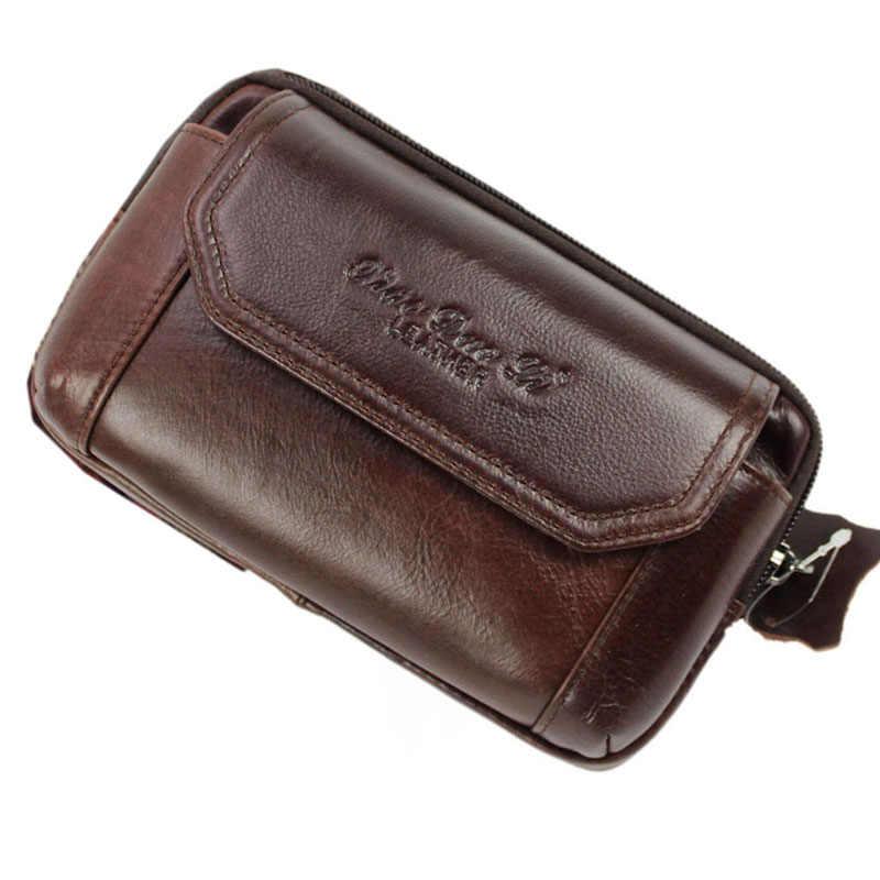 男性本革リアル牛革携帯携帯電話ケースカバー財布タバコマネーヒップベルトファニーバッグウエストパックパック父ギフト