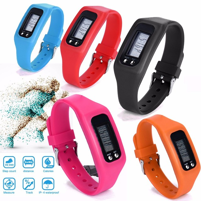 Bracelet Watches Women Men Clock Sports LCD Pedometer Watch Run Step Walking Dis