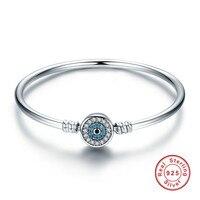 925 Sterling Silver Luxury Blue Eyes Chiaro Zircone Catena Del Serpente Cuore Bangle & Bracelet Jewelry