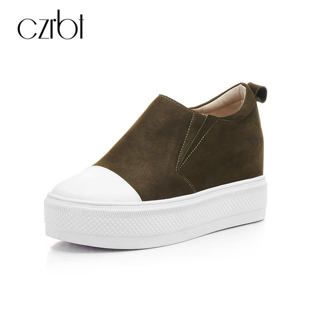 CZRBT Women Flat Shoes New Arrive Genuine Leather Round Toe Slip On Flat Platform Shoes Woman Casual Flats Army Green Black