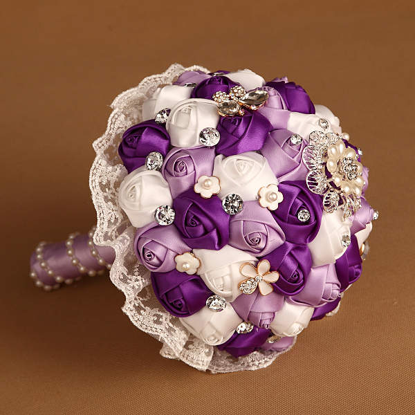 Average Cost Of Wedding Flowers 2014: Purple Navy Coral Satin Silk Rose Wedding Bouquet Bridal
