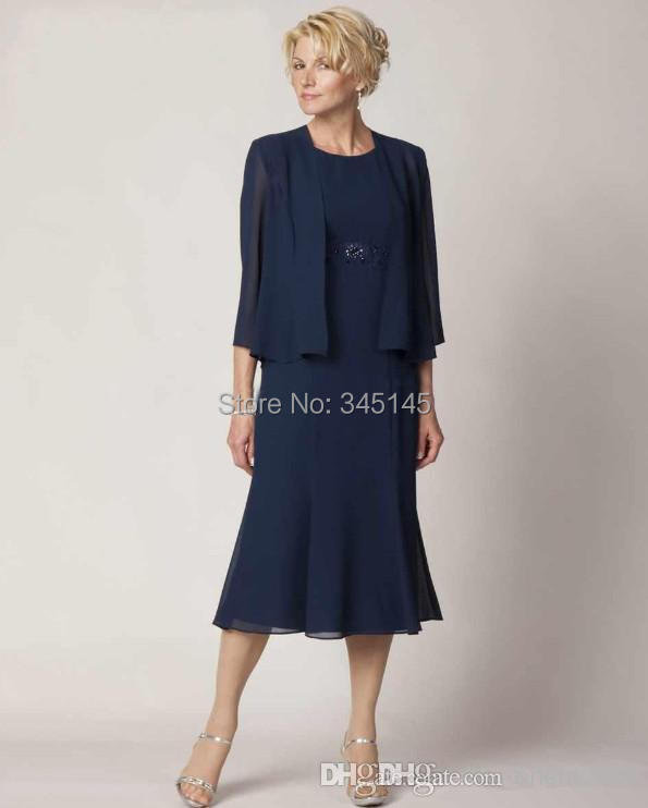 Graceful A Line Tea Length Mother Of The Bride Dresses Dark Blue Chiffon With jacket Three Quarter Sleeve