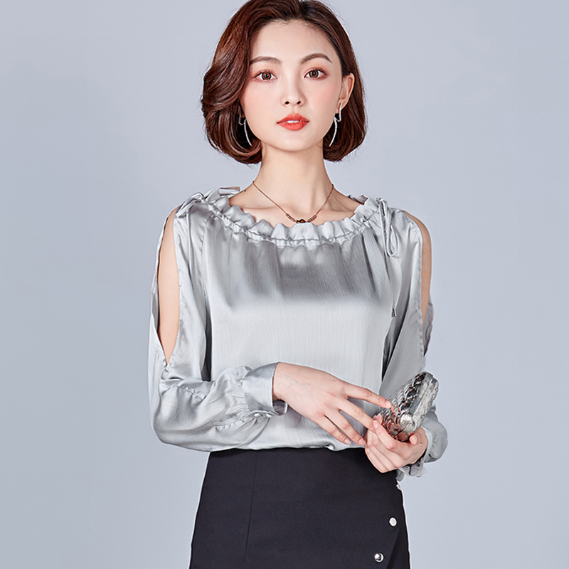 2019 fashion Sexy V Neck blouses women temperament formal long sleeve chiffon shirt office ladies tops ruffles Silver Pink in Blouses amp Shirts from Women 39 s Clothing