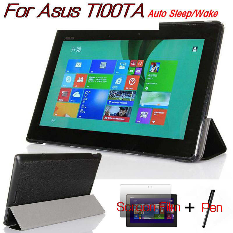 Magnetic Smart Flip PU Leather Case for Asus Transformer Book T100TA 10.1 Tablet Funda Cover With Free Screen Film+Stylus Pen magnetic stand smart pu leather cover for lenovo miix 320 10 1 tablet pc funda case free otg stylus pen