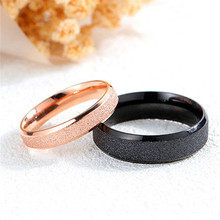 1 PC Hip Hop Bling Stainless steel matte ring couple pair rose gold black Fashion Finger Ring Dropshipping Valentine gift
