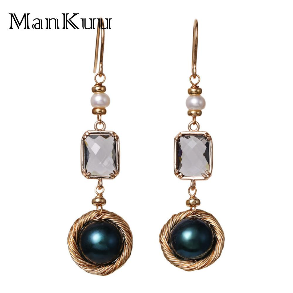 SG Featured Trendy Luxury Baroque Pearl Earrings Round Freshwater Black Pearl Grey Crystal Drop Earrings For Women Gold JewelrySG Featured Trendy Luxury Baroque Pearl Earrings Round Freshwater Black Pearl Grey Crystal Drop Earrings For Women Gold Jewelry