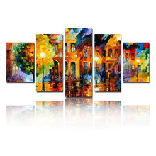 5 piece home decor art set Beautiful street scenery modern palette knife hand painted Oil Paintings on Canvas t5p7