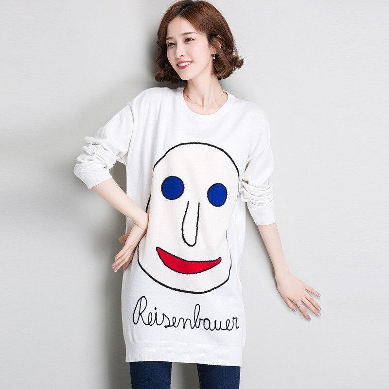 Новинка весны для женщин свитер пуловеры для повседневное теплые модные длинные дизайн женский вязаный Пуловеры с кошками - Цвет: 2