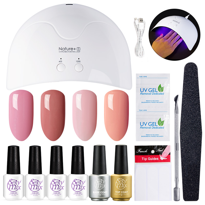 Sexy Mix Profession Nail Art Outils Kits 16 W UV LED Nail Sèche-lampes 3 UV Gel Polish Base Top Coat polonais Gel Manucure 71 pc ensembles