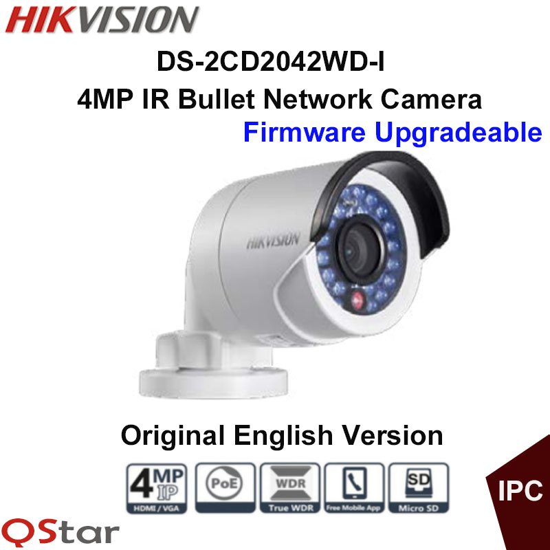 Hikvision Original English IP Camera DS-2CD2042WD-I 4MP Replace DS-2CD2035-I DS-2CD2032-I DS-2CD2032F-I CCTV bullet POE camera original hikvision 1080p waterproof bullet ip camera ds 2cd1021 i camera 2 megapixel cmos cctv ip security camera poe outdoor