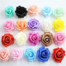 10PCS/lot 4.5cm Multicolor Artificial Crimping Foam rose head Use For Wedding Decoration DIY Wreaths Craft Gift Supplies
