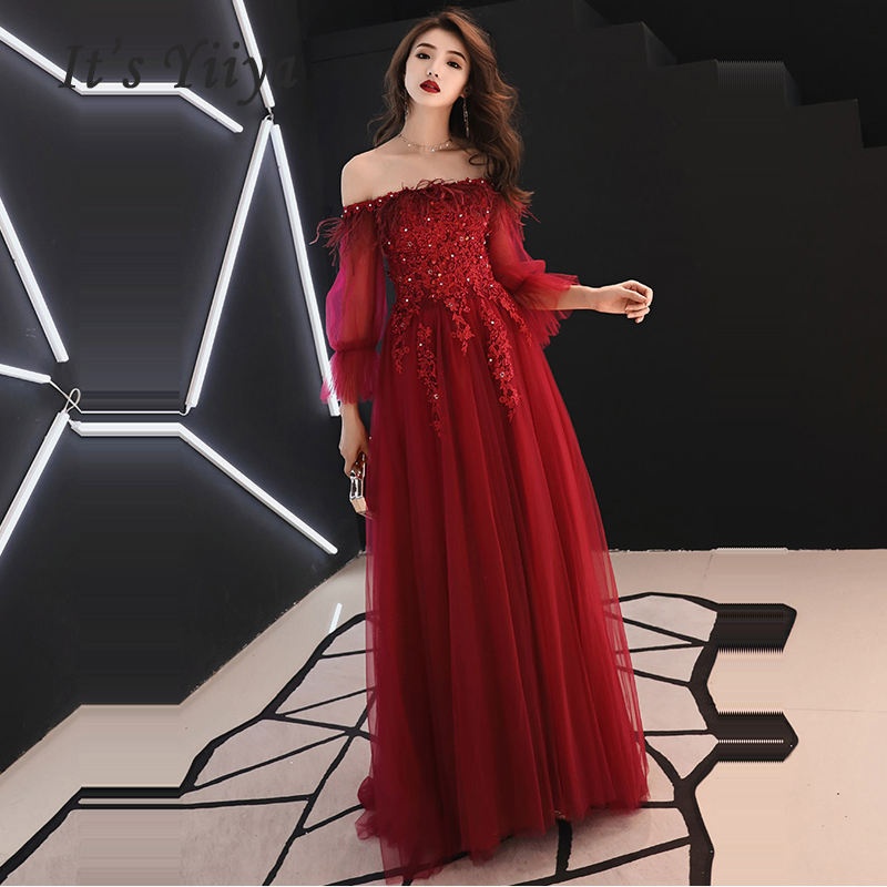 It's Yiiya Evening Dress Long Sleeve Crystal Women Party Dresses Lace  Robe De Soiree 2019 Plus Size Boat Neck Formal Gowns E689