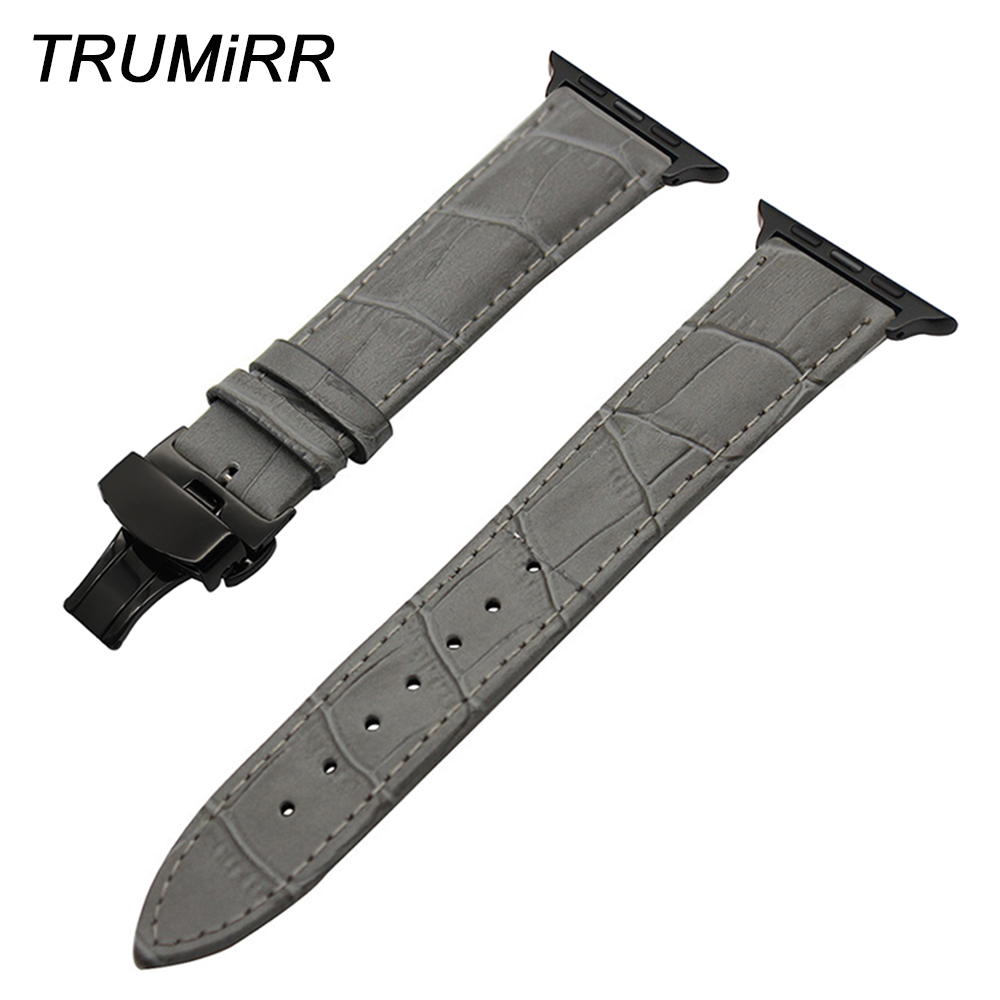 Genuine Leather Watchband for iWatch Apple Watch 38mm 42mm Series 1 2 3 Croco Band Steel Butterfly Buckle Strap Wrist Bracelet ceramic watchband tool for 38mm 42mm iwatch apple watch series 1 2 replacement band steel butterfly buckle strap wrist bracelet