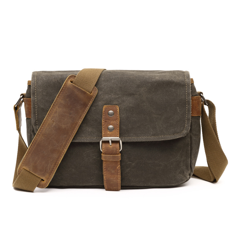New Arrival Canvas Crossbody Bag Military Shoulder Bags Vintage Messenger Bag With Crazy Horese Leather Cool Boy School Bag G042 augur 2017 canvas leather crossbody bag men military army vintage messenger bags shoulder bag casual travel school bags